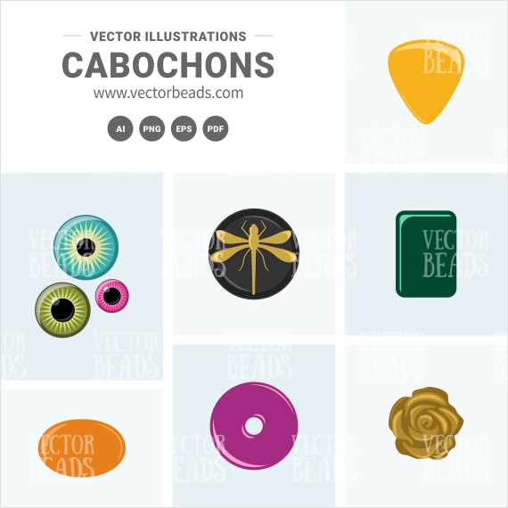 Cabochons Vector Cliparts
