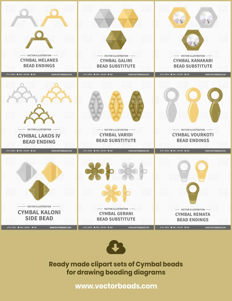 Cymbal beads and findings as vector illustrations, created by Vector Beads