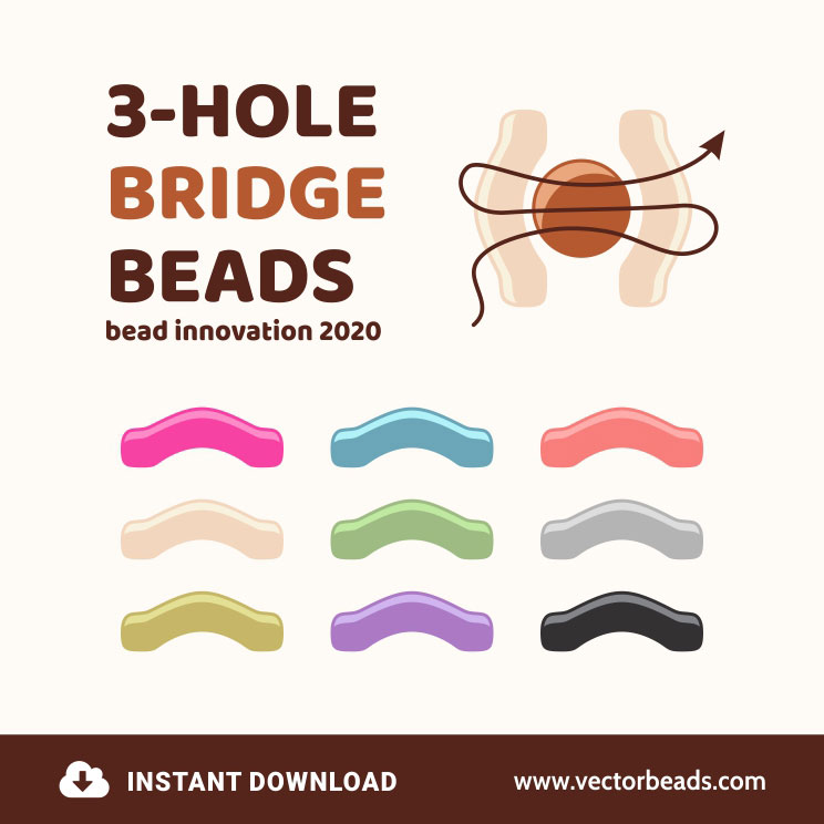 Three-hole Bridge Beads Vector Illustration for Drawing Beading Patterns. Created by Vector Beads.
