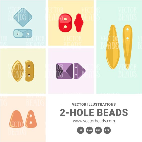 Two-hole Beads Vector Shapes