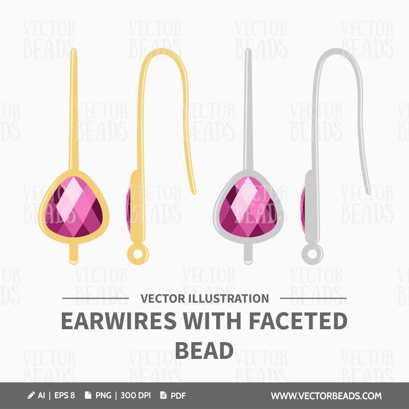 Vector Clip Art Set of Earwires With Faceted Bead